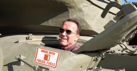 Arnold Meets With Greta, Runs Errands In Tank