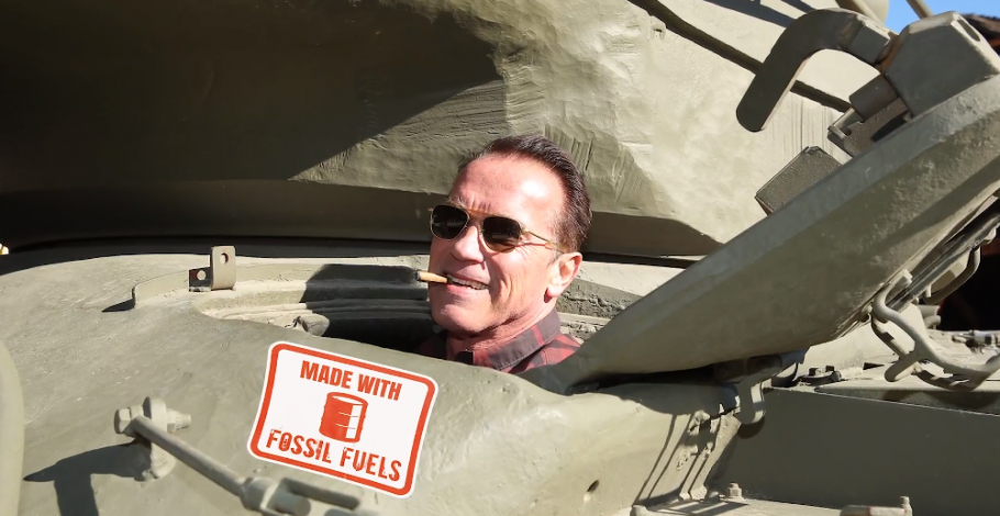Arnold Meets With Greta, Runs Errands In Tank