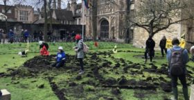 Extinction Rebellion Protesters Dig Up Cambridge College's Lawn